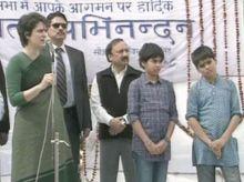 Priyanka Gandhi with her kids Miraya and Raihan.