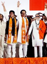 (From right) Balasaheb Thackeray, Uddhav Thackeray, Aditya