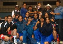 Haryana women boxers receive the overall champion trophy
