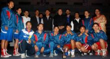 Assam women boxers pose with the trophy