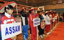 Women Boxers being felicitated with japi