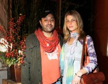 Vikram Chatwal with Angela Lindvall