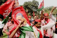 Samajwadi Party workers celebrate party's win