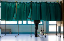 A voter in a polling booth