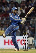 Harbhajan Singh plays a shot