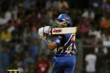 Rohit Sharma pulls a delivery