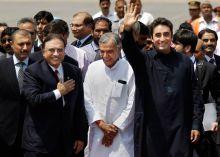 (From left) Asif Ali Zardari, Pawan Kumar Bansal, Bilawal Bhutto Zardari