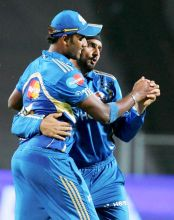 Harbhajan Singh with a team-mate