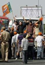 BJP activists block traffic during Bandh