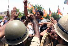 Bharatiya Janata Yuva Morcha activists