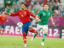 Spain's Sergio Ramos, Ireland's Robbie Keane