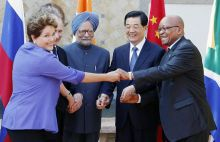 Brazil's President Dilma Rousseff, Russia's President Vladimir Putin, India's Prime Minister Manmohan Singh, China's President Hu Jintao and South Africa's President Jacob Zuma