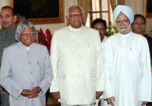 Abdul Kalam, Somnath Chatterjee and Manmohan Singh