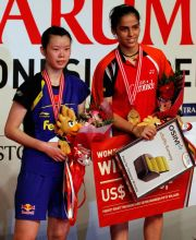 Saina Nehwal with Xuerui Li