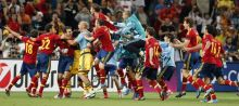 Spanish players celebrate their victory