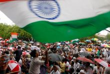 Anna Hazare supporters at Jantar Mantar