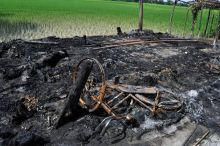 Burnt house in Assam