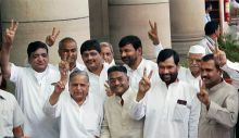 Mulayam Singh Yadav with other ministers