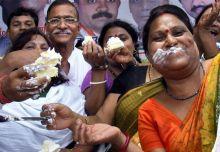 Congress supporters celebrate Pranab's win