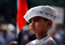 A young supporter of Anna Hazare