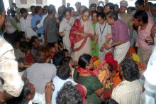Rajasthan Governor Margaret Alva at a relief camp