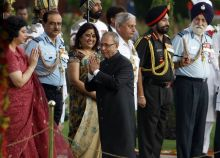 Pranab Mukherjee greets others