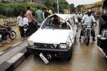 Damaged car in Ghat Ki Guni area of Jaipur
