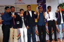 Wrestlers Sushil Kumar and Yogeshwar Dutt, Shooters Vijay Kumar And Gagan Narang, Boxer M C Mary Kom with Sports minister Ajay Maken