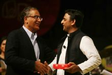 Akhilesh Yadav with Aroon Purie