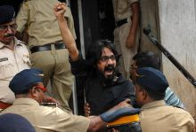 Supporters of Cartoonist Aseem Trivedi hold protests in Mumbai
