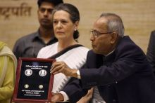 Sonia Gandhi (left) and President Pranab Mukherjee