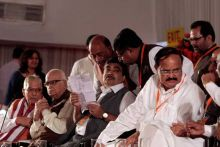 (From left) Murli Manohar Joshi, L K Advani, Nitin Gadkari and Venkaiah Naidu