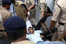 ABVP members protest against Coalgate scam