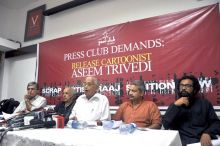 (From left) Mumbai Press Club President Gurbir Singh, director Mahesh Bhatt, justice Hosbet Suresh (retd), Mayank Gandhi and Alok Dikshit