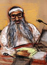 Courtroom sketch of 9/11 attacks co-defendant Khalid Sheikh Mohammed