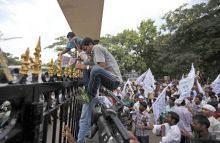 Protest over Telangana