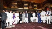 President, Vice President and Prime Minister with newly sworn-in ministers