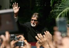 Fans at Big B's residence