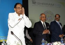 (From left) Finance Minister P.Chidambaram, Shriram City Union Finance Chairman Arun Duggal and PNB Chairman and Managing Director K R Kamath