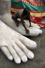 Statute depicts the feet of God
