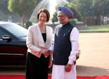 Manmohan Singh with Julia Gillard