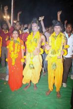 People dressed as Lord Ram, Lord Laxman and Goddess Sita