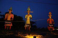 Effigies of demon king Ravana, his brother and son
