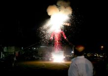 Effigy of demon king Ravana burns
