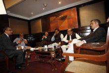Aroon Purie with the invited guests