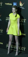 Kristen Stewart donned a yellow Dior dress during the Spanish premiere of the film The Twilight Saga: Breaking Dawn-Part 2 in Kinepolis Cinema in Madrid, Spain.