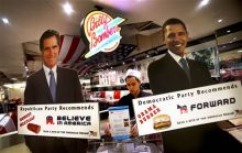 Standees of U.S President Barack Obama and Mitt Romney
