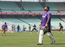 Mahendra Singh Dhoni during practice session at Eden Gardens