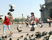 College students at Gateway of India