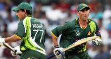 Younis Khan and Nasir Jamshed take a single.
